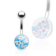 Piercing nombril à motif fleuri bleu et blanc