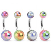 Piercing nombril à motif globes occulaires