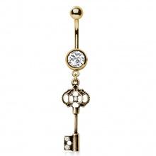 Piercing nombril à pendentif clé mystère style antique