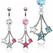 Piercing nombril à pendentif étoiles filantes