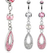 Piercing nombril à perle et goutte ajourée pavée de pierres