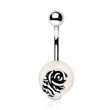 Piercing nombril à perle et rose métallique