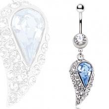 Piercing nombril aile d'ange bleue et claire