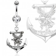 Piercing nombril ancre de marine avec aigle