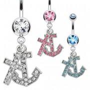 Piercing nombril ancre de marine et croix pavées de pierres