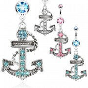 Piercing nombril ancre de marine vintage