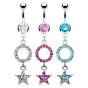 Piercing nombril anneau et étoile