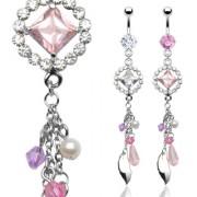 Piercing nombril anneau et pierre losange