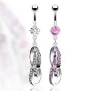 Piercing nombril anneaux entrelacés