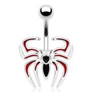 Piercing nombril araignée rouge et noire