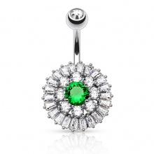 Piercing nombril argenté style bouton de fleur majestueux à strass clairs et vert