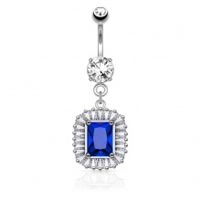 Piercing nombril argenté style médaillon royal à strass clairs et bleu saphir