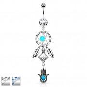 Piercing nombril avec Attrape rêve et Hamsa / main de Fatima à perle turquoise
