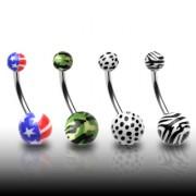 Piercing nombril avec boules à imprimés