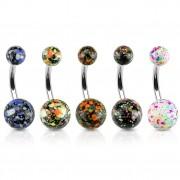 Piercing nombril avec boules en acrylique à design projection de peinture