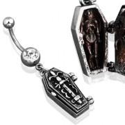 Piercing nombril avec cercueil vintage et squelette