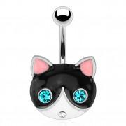 Piercing nombril avec chat noir et blanc