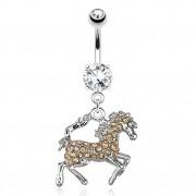 Piercing nombril avec cheval pavé de pierres