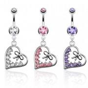 Piercing nombril avec coeur pavé de pierres et noeud