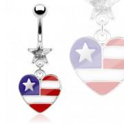 Piercing nombril avec coeur USA et pierre étoilée