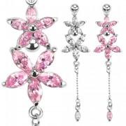 Piercing nombril avec duo de fleurs de pierres et chaine