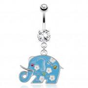 Piercing nombril avec éléphant bleu décoré de fleurs