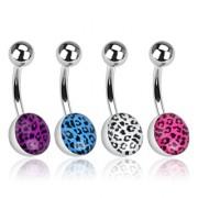 Piercing nombril avec extrémité à motif léopard