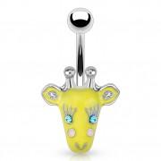 Piercing nombril avec giraffe rigolote