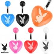Piercing nombril avec lapin Playboy sur coeur (licence officielle)