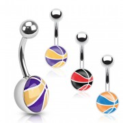 Piercing nombril avec motif ballon de basket-ball
