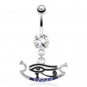 Piercing nombril avec oeil d'Horus noir et bleu