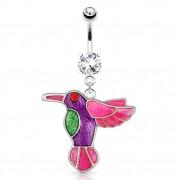 Piercing nombril avec oiseau colibris de couleurs vives