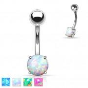 Piercing nombril avec opale synthétique
