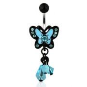 Piercing nombril avec papillon bleu et noir à perles translucides