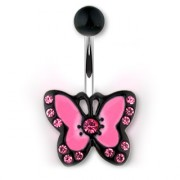 Piercing nombril avec papillon rose et noir à strass