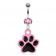 Piercing nombril avec patte de chat noire et rose