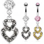 Piercing nombril avec pendentif à deux coeurs superposés
