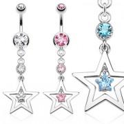 Piercing nombril avec pendentif à duo d'étoiles