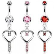 Piercing nombril avec pendentif clé de coeur sertie