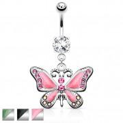 Piercing nombril avec pendentif papillon majestueux
