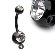 Piercing nombril Black Titanium avec anneau