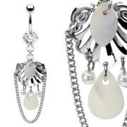 Piercing nombril bouclier et perles