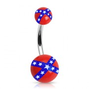 Piercing nombril boules drapeau rebel