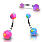 Piercing nombril boules UV étoilées