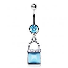 Piercing nombril cadenas à oeil de chat bleu ciel avec strass
