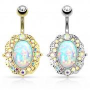 Piercing nombril cadre vintage avec opale ovale au centre