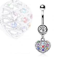 Piercing nombril cage en coeur à pierres multicolores