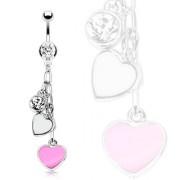 Piercing nombril chaines de coeurs rose et blanc