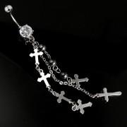 Piercing nombril chaînes et croix