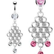 Piercing nombril chandelier d'anneaux et pierres pendantes